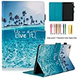 LittleMax PU Leather Case Flip Stand Protective Auto Wake/Sleep Cover for Amazon Kindle Fire HD 8 7th Gen 2017 Release & 6th Gen Release 2016 with Free Stylus-04 Beach