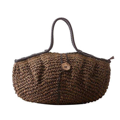 Zipper Totes Straw Handbags Buckle Big Dunland Beach Coconut Bag Women Shoulder Brown Minimalism Bag Bag Bag 7CqfwIF