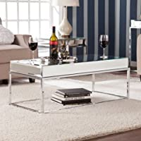 Adelie Contemporary Mirrored Metal Living Room Coffee Cocktail Table