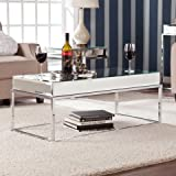 514YPzUabKL. SL160  Adelie Contemporary Mirrored Metal Living Room Coffee Cocktail Table
