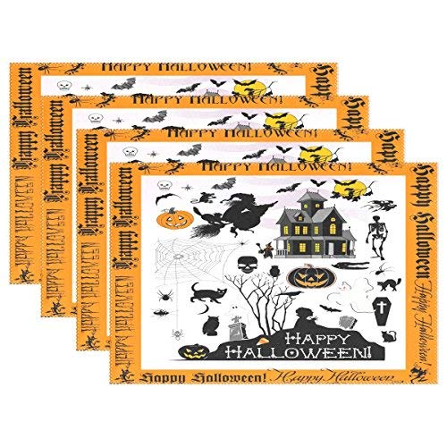 Halloween Town Placemats, Heat-ristant Placemats Stain Ristant Anti-Skid Washable Polyter Table Mats Non Slip Easy Clean Placemats, Set of 6 -