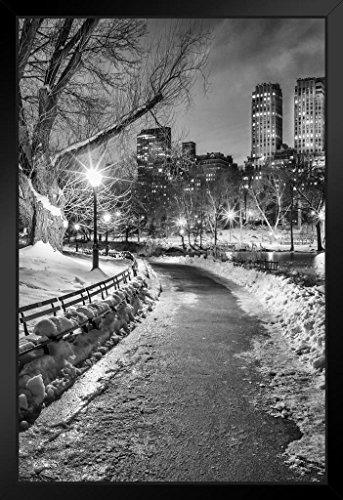 (New York City Central Park Wintery Path B&W Photo Art Print Framed Poster 14x20 inch )