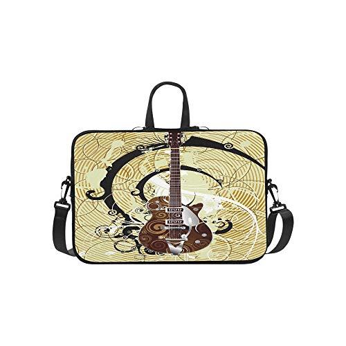 (Retro Music Guitar Polka Dot Vintage Pattern Briefcase Laptop Bag Messenger Shoulder Work Bag Crossbody Handbag for Business Travelling)