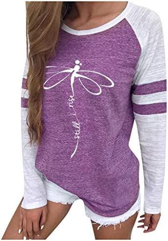 Onegirl Casual Round Neck Print Long Sleeve Sweatshirt for Women Autumn Shirts Pullover Tops and Blouses