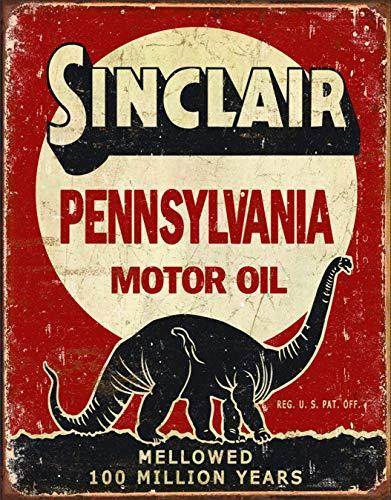 "Desperate Enterprises Sinclair Pennsylvania Motor Oil - Million Years Tin Sign, 12.5"" W x 16"" H"