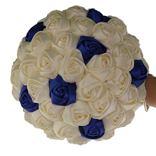 FYSTORE Wedding Bride Holding Bouquet Roses Artificial Silk Flower Bouquet (Ivory+Royal Blue)