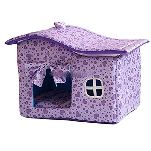 Purple NSHZ Pet Nest with Curtains Kennel Winter House Washable Pet Dog House Teddy Kennel Dog House Cat Litter Cotton Nest Gift Blanket pet Bed (color   Purple)