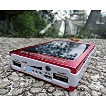 TALABOX 15000mah Portable Black LED Capacity Dispaly solar charger solar power bank solar battery charger solar backup battery with LED Light Charging Compatible for Iphone6,6 Plus,5,5s,4,4s and Sumsung S3,s4,s5,note2,note3,note4,Blackberry phones,Nokia phones,HTC phones,HUAWEI phones And All Android Smart Phones,Cell Phones,Tablet PC,Digital Cameras,DV Recorders and other Devices.(Red)