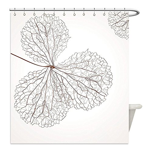 Liguo88 Custom Waterproof Bathroom Shower Curtain Polyester Flower Decor Abstract Cotton Floral Design with Veins Natural Botanic Plants Image Art White and Brown Decorative - Galleria Plains In White