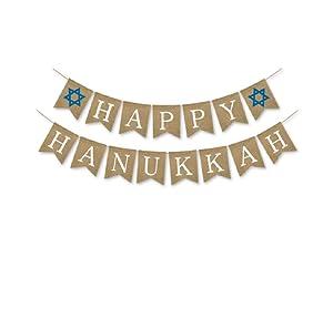 Happy Hanukkah Banner Burlap Bunting Garland Flags for Hanukkah Party Decoration Sign