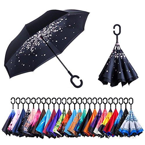 AmaGo Windproof Inverted Umbrella - UV Protection Double Layer Reverse Folding Long Self Standing Umbrella with C-Shape Handle for Car Rain Outdoor Travel(Sakura)