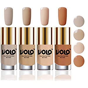Volo HD Colors High-Shine Long Lasting Non Toxic Professional Nail Polish Set of 4 (Nude Tude)