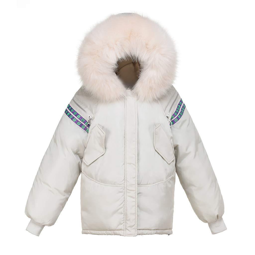 Shusuen Women's Winter Faux Fur Outerwear Hooded Plus Size Parka Jacket Coat Cotton-Padded Jacket White by Shusuen_Clothes