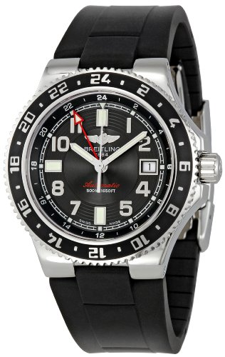 Breitling Men's A3238011/BA38BKRD Black Dial Superocean GMT Watch