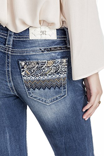 Miss Me Women's Embroidered Pocket Boot Cut Denim Jean, MK, 29 - Juniors Embroidered Pocket Jeans