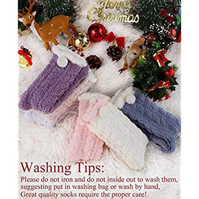 Womens Fuzzy Slipper Socks Soft Cabin Warm Cute Cozy Fluffy Winter Christmas Slipper Socks 6 Pairs (Solid Color) at Women's Clothing store