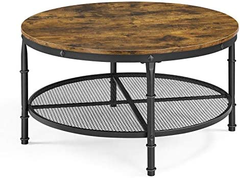 Topeakmart Rustic Round Coffee Table Modern Nightstand Vintage Furniture