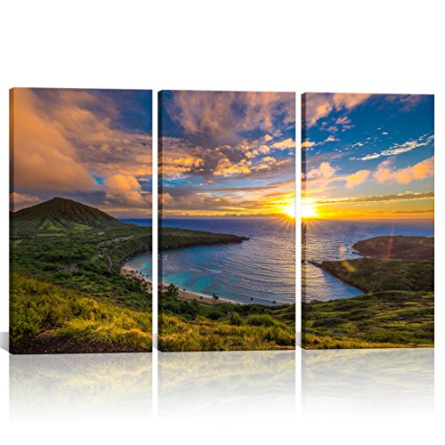 3 Pieces Canvas Print Wall Art Painting Sunrise from Hanauma Bay on Oahu Hawaii Landscape Picture Modern Giclee Stretched Framed Artwork Living Room 16