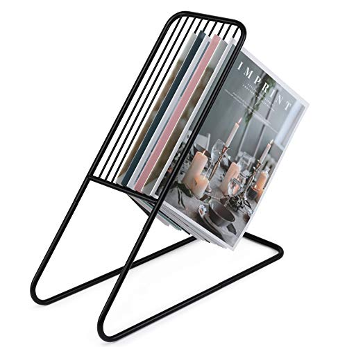 Magazine Holder Rack by Home Style, Sleek Modern Standing Design, Perfect Organizer and Holder for Home and Professional Settings, Displays 12 Small Magazines or 9 Big Once