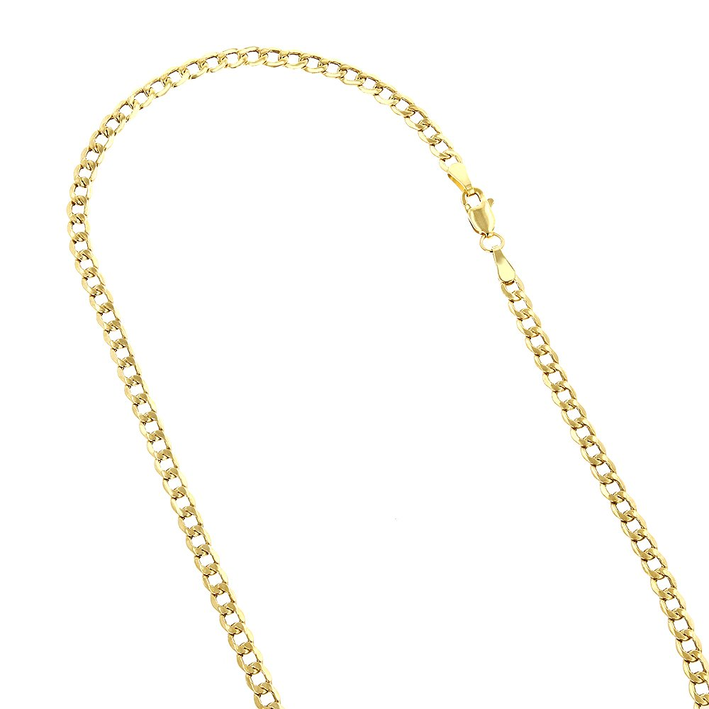 IcedTime 10K Yellow Gold Hollow Italy Cuban Curb Chain Necklace with Lobster Clasp 4.5mm Wide 18'' Long