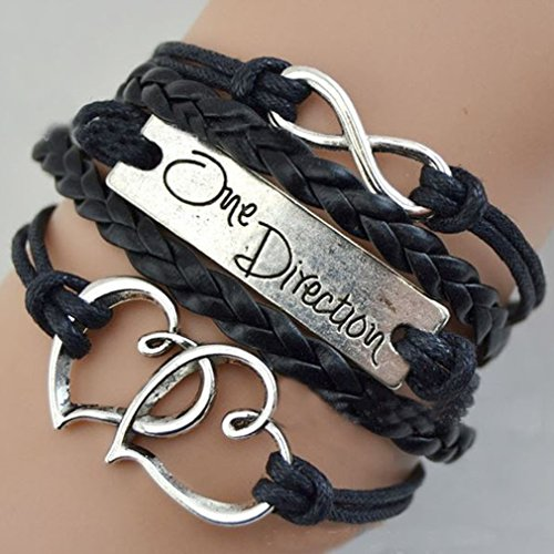 - Fashion Infinite Bracelet Black Love Heart One Direction Pattern Leather Knit Rope Pruk Charm Wristband Vintage Weave Wrap Bracelet by SamGreatWorld