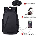 Business Laptop Backpack, FLYMEI Anti Theft Water Resistant Bookbag with USB Charging Port and Headphone Interface, Slim Travel College School Bookbag, Computer Bag Fits under 15.6'' Laptop, Black