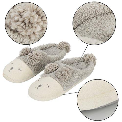 Xhorizon Tm Fl1 Donne Ragazze Pecore Caldo Peluche Suola Morbida Pantofola Interna Grigio (aperto-indietro)