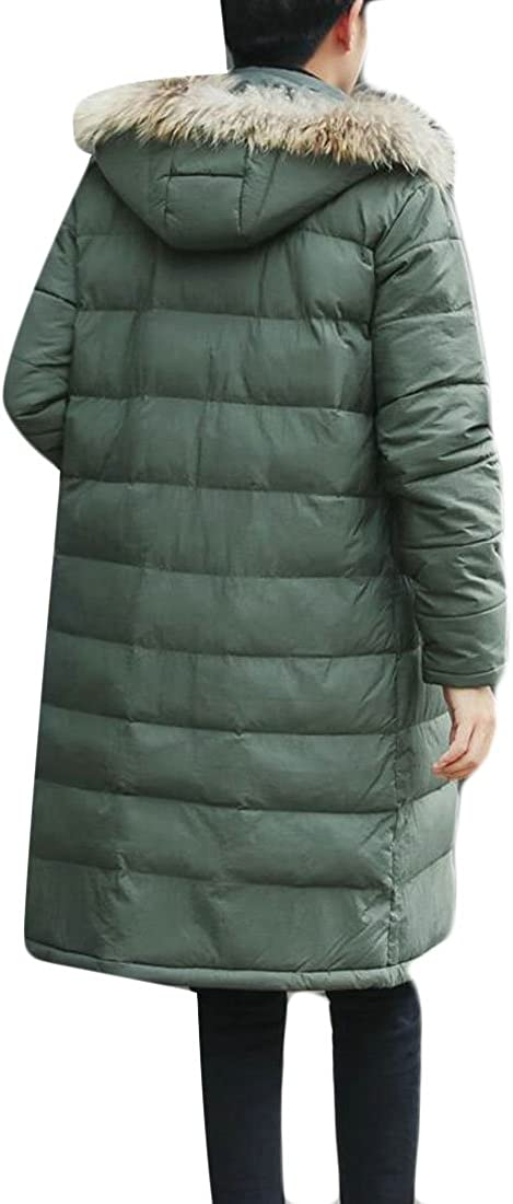 S-Fly Mens Outerwear Faux-Fur Hood Thicken Quilted Long Down Jackets Coats
