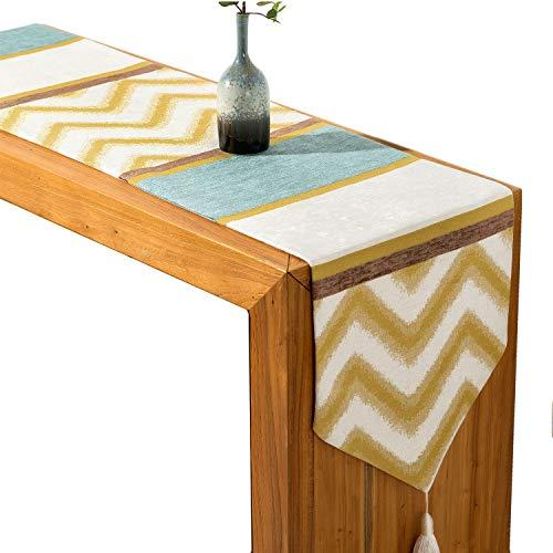 (IBWell The Runstic Country Chenille Jacquard Table Runner Dresser Scarf,Chevron Design, Tassel For Wedding Party Dinner Decoration (12