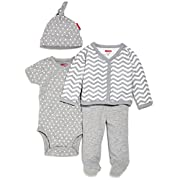 SkipHop Baby Starry Chevron 4 Piece Welcome Home Set, Grey, Newborn