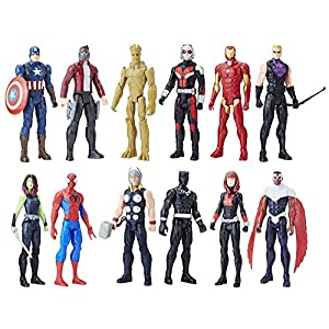 Marvel Titan Hero Series 12-inch Super Hero Action Figure 12-Pack Including Captain America, Iron Man, Spider-Man, Black… 1