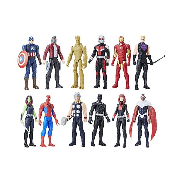 Marvel Titan Hero Series 12-inch Super Hero Action Figure 12-Pack Including Captain America, Iron Man, Spider-Man, Black… 1