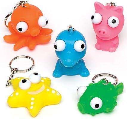 Baker Ross- Llaveros de Animales con Ojos saltones (Pack de 6) para Bolsas Sorpresa de Fiestas Infantiles