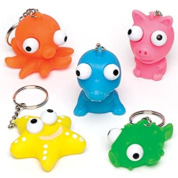 Baker Ross Ltd Eye Popper Animal Keyrings (Pack of 6) for Kids Party Bag