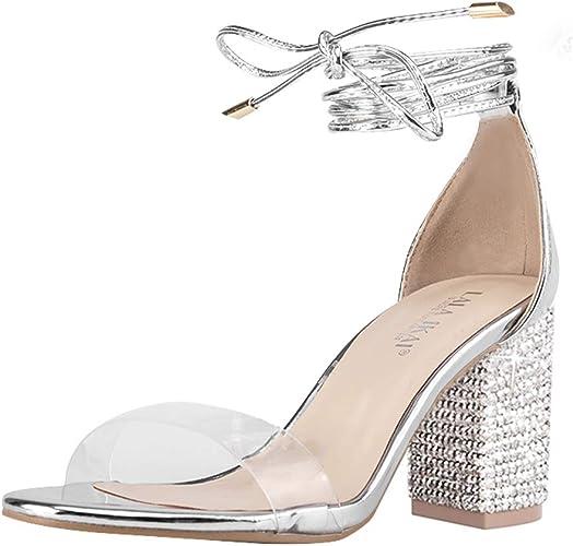 Block Heels Peep Toe Ladies Sandals Peep Toe Clear Strap Leather Gladiator Shoes