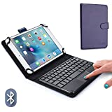 Cooper TOUCHPAD Executive Keyboard case for 7'' - 8'' inch Tablets   2-in-1 Bluetooth Wireless Keyboard with Touchpad & Leather Folio Cover   Touchpad Mouse, Stand, 100HR Battery, 14 Hotkeys (Blue)