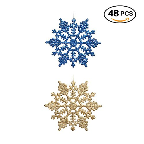 """Plastic Glitter Snowflake - Pack of 48 Multiple Color Snowflakes - 4"""" Hanging Sparkling Christmas Snowflakes - Snowflake Decorations Christmas Ornaments (Blue/ (Gold Snowflake Glass Ornament)"""
