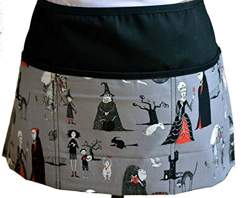 Halloween Aprons Witches Vampires Black Cats Waiter Waitress Kitchen Cooking Apron with 3 Pockets Halloween Adams Family Scary Spooky Halloween vapire Aprons Wolves Frankenstein Black Cats Witches ()