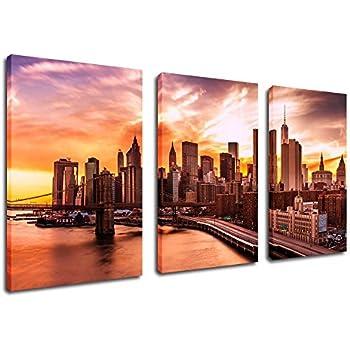 Canvas painting wall art decor new york city skyline sunset framed ready to hang 3