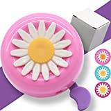 Kids Bike Girl's Bicycle Bells,Toddler Bike Parts,Bike Horn Accessory Flowers(Pink)