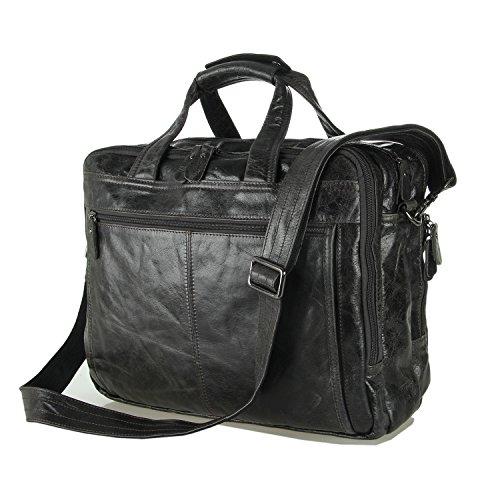 BAIGIO Men's Leather Briefcase Laptop Computer Shoulder Bag Office Messenger Bag (Black) by BAIGIO