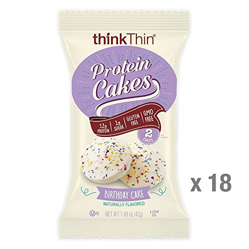 thinkThin Protein Cakes, Birthday Cake, 2 Cakes per 1.48 oz Package (18 Packages) For Sale