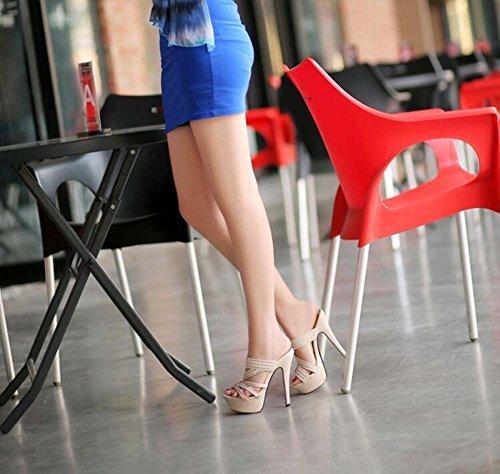de High New Unidos Fashion Estados Plataforma Heeled y Sandalias Sandalias Oro los Finas Impermeables Pantuflas Europa y con Zapatos YXwqn1nO