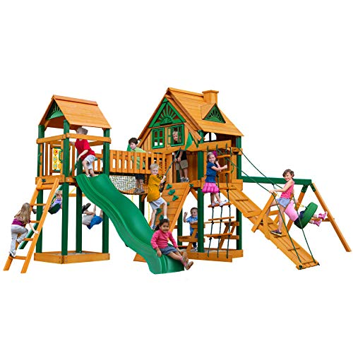 Gorilla Playsets 010070TS Pioneer Peak Treehouse Wooden Swing Set with Fort AddOn Timber Shield Posts Slide and Tower with Clatter Bridge