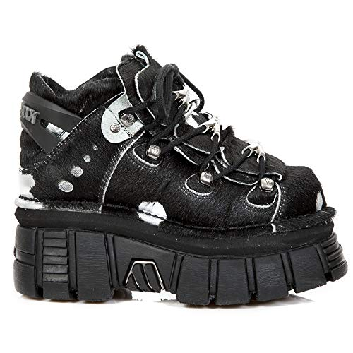 Tacón Punk Heavy Botas Piel New Hombre Rock Plano M 106 Botines s33 Negro Gotico Plateado Mujer Cuero Unisex ZFOxwgOaq