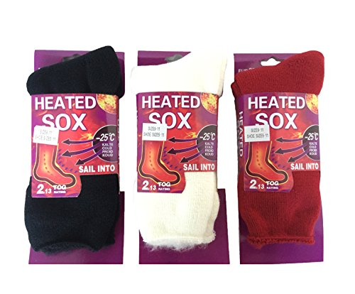 Women Heated Sox Thermal Winter Heavy Duty Crew Socks Fur Lined (3 Pairs Black/Ivory/Red) (Stockings Plus Size Lined)