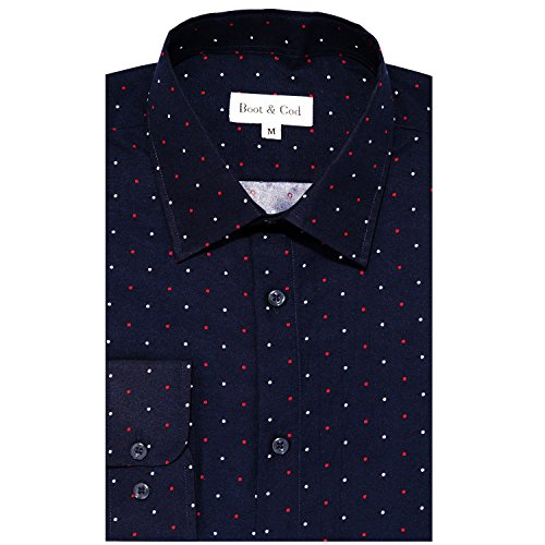 Boot & C32Cod Men's Shirts - Patterned Slim Fitted Long Sleeve Button Down Dress Shirt for Men - Small