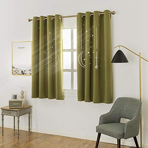 MANGATA CASA Kids Star Blackout Curtains Grommet Thermal 2 Panels for Bed Room,Cutout Galaxy Window Curtain Darkening Drapes for Nursery Living Room(Olive 52X63in) ()