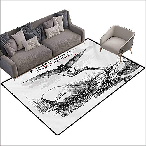 Floor Bath Rug Halloween Dead Skull Skeleton Out of The Grave and Flying Bat Hand Drawn Spooky Picture Quick and Easy to Clean W78 xL106 Black White -