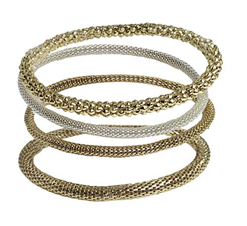 Bracelet Beaded Plated Silver Stretch (Dragonfly Spirit Designs Mesh Chain Stretch Multilayer Bangles 12K Yellow Gold Plated and 925 Sterling Silver Plated for Women Girls Men (Set-4))